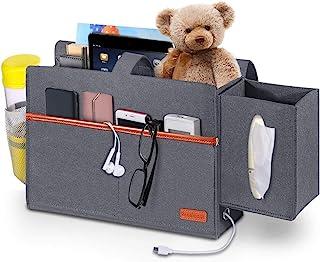 Simboom Bedside Organizer Caddy, Felt Storage Bag with Tissue Box and Water Bottle Pocket, Books Magazine Holder for Home ...