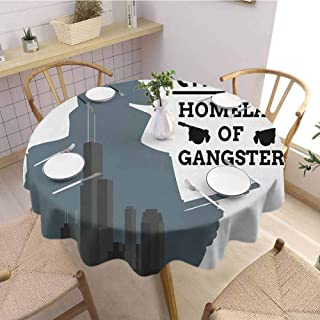 S-ANT Overlays Round Tablecloth Vintage,Double Exposure of Gangster with Gun on Chicago Skyscrapers Homeland Mafia Danger,Grey Black Buffet Table Holiday Dinner Picnic D58