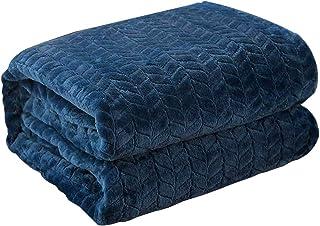 KEAYOO Manta para Sofa Reversible de Franela/Sherpa 150x200cm Cama 90 Suave y Acogedor Transpirable Ligera (Azúl, 150 x 200 cm)