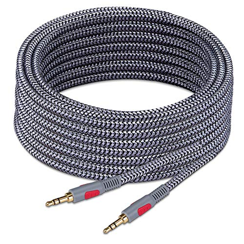 3.5mm Aux Audio Cable 30 ft,Ruaeoda Braid 3.5mm to 3.5 mm Stereo Audio Cable 1/8 Shielded AUX Headphone Cable Extension Male to Male Outdoor Auxillary Stereo Audio Cable Cord