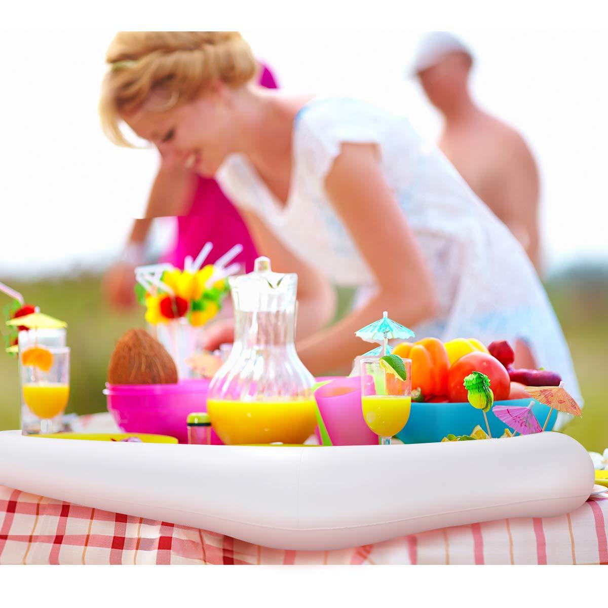 HEMOTON - Bandeja hinchable para bebidas, frutas, helados, colchones de aire, ensaladas, bares, piscinas, fiestas, picnic: Amazon.es: Hogar