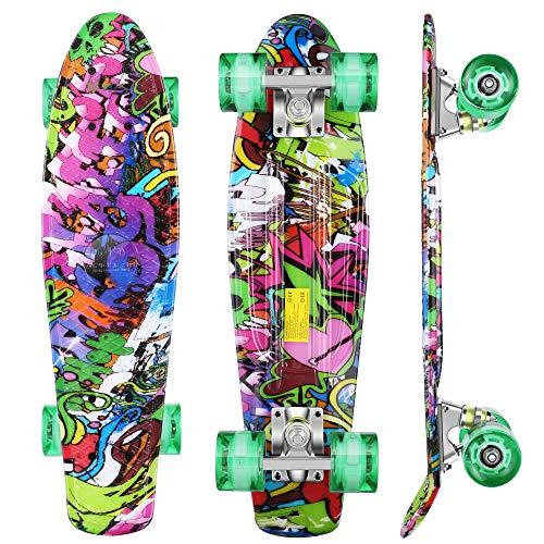 WeSkate Skateboard 56x16cm Monopatin Complete con 4 PU Ruedas Luminosas y Rodamiento de Bolas ABEC-7&9 de Tabla Skate Board para Niño y Niña Retro Mini Cruiser Puede Soportar 100 kg