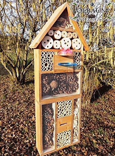 ÖLBAUM Haus INSEKTENHOTEL MIT TRÄNKE SDV-Host-OS und FUTTERPLATZ, Futterstelle, Dunkelbraun braun Nistkasten Insektenkasten Insektenhaus