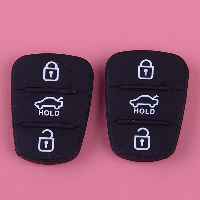 Cacys-Store - 2pcs Car Keyless Remote 3 Button Silicone Key Pad Fit For Hyundai I30 IX35 Seed SeedPro Picanto Sportage