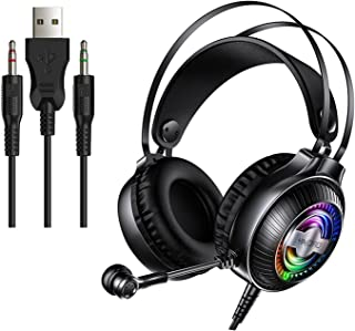 H HILABEE Over Ear Gaming Headset Hörlurar med LED Ljusmikrofon dubbelt 3,5 mm gränssnitt – svart