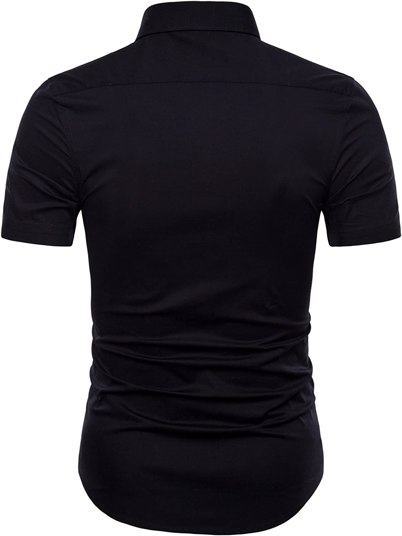 Manwan walk Men's Dress Shirts Slim Fit Short Sleeve Casual Business Cotton Button Down Shirts
