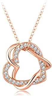 18k Rose Gold Autralian Swiss Crystal Heart Necklace Pendant with 18