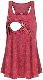 Women Maternity Vest Layered Breastfeeding Top Tank Nursing Shirt Tees Sleeveless Pregnancy Blouse