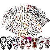 Lionvisone Pegatinas para uñas de Halloween,48 piezas de pegatinas para decoración de uñas autoadhesivas con calavera de calabaza y diablo para mujeres niñas, niños manicura bricolaje o accesorios