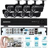 KKmoon Kit Sistema de Seguridad CCTV (8 Canal 720P 960H DVR, 8 Cámara Bala de Vigilancia, 24 IR LED, 1/4' CMOS, IP66 Impermeable, Outdoor)