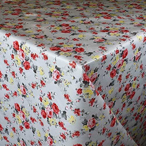 KEVKUS wasdoek tafelkleed metergoed 95A rozen ruiten bloemen zomer tuin selecteerbaar in vierkant rond ovaal (rand: paspel (met kunststof band), 120 x 160 cm vierkant)