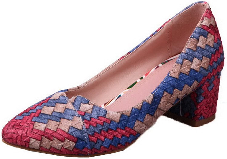AmoonyFashion Women's Pull-On Closed-Toe Kitten-Heels PU Woven Pumps-shoes