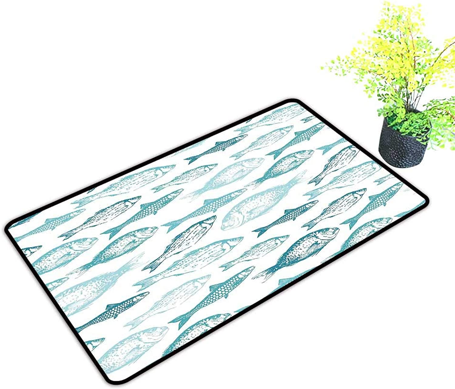Gmnalahome Large Door Mats shoes Scraper Mediterranean Creatures in Soft Pastel Monochrome color Illustration Light bluee Use for Front Door Entrance W39 x H19 INCH