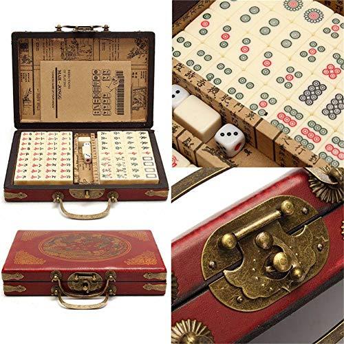 Juego Mahjong Viaje portátil Mahjong 144 Piezas de Mahjong con una Funda de Piel con Manual de Ingles
