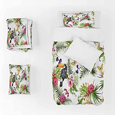 CEFCKB Duvet Cover Twin Flower Plant Bird Washed Microfiber Bedding Comforter Cover with Zipper Closure & Corner Ties, So