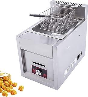 Friteuse à gaz monocylindre, friteuse Commerciale à allumage par Impulsion Friteuse épaisse en Acier Inoxydable de Grande ...