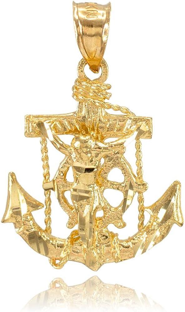 Men's Fine Jewelry 10k Yellow Gold Mariner's Cross with Crucifix Pendant