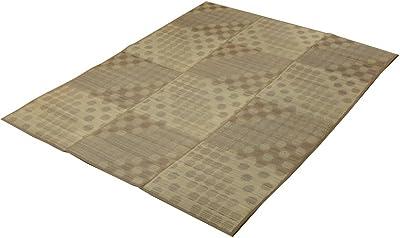 い草ラグ ラグ カーペット 2畳 ふっくら ボリュームラグ ドット柄 NSPサークル ブラウン 約200×200cm 裏面:滑りにくい加工 #8451470