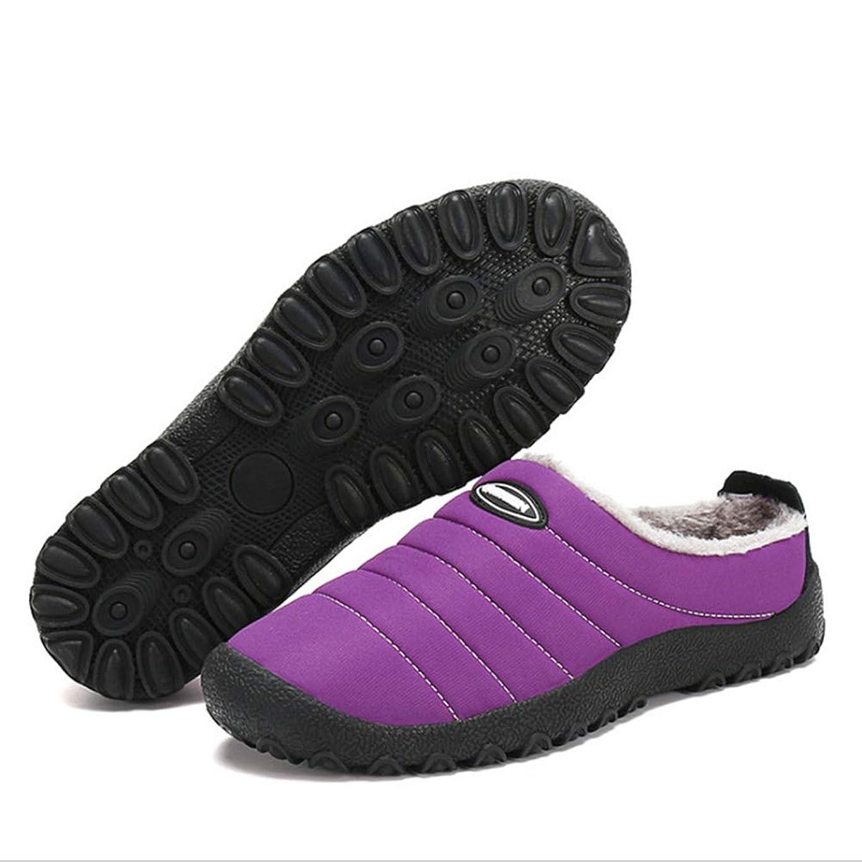 書士疲労風変わりな家のスリッパユニセックス冬暖かい屋内屋外のどの毛皮は防水滑り止めの綿の靴を並べた,Purple,37