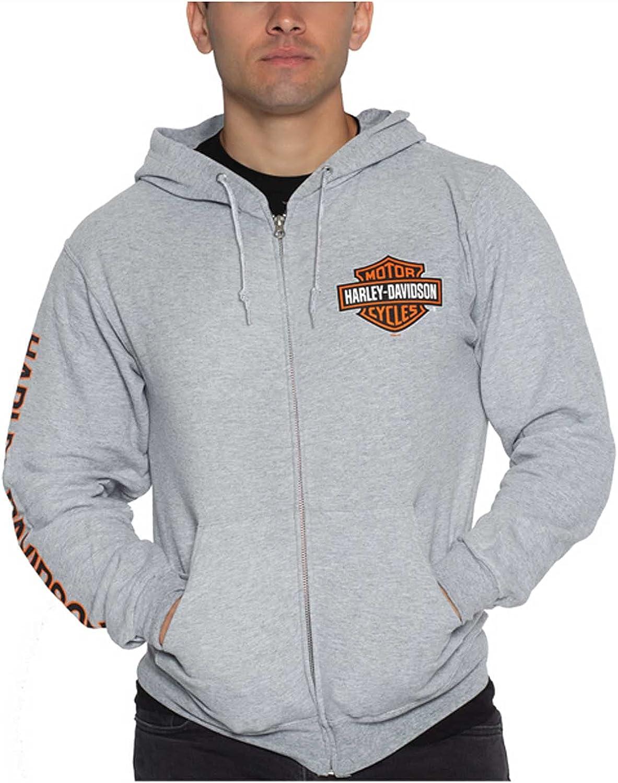 Harley-Davidson Men's Bar & Shield Logo Zip-Up Poly-Blend Hoodie - Heather Gray