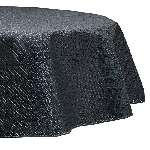 Beautissu Lena Gartentischdecke Rund 160 cm - Outdoor Tischdecke abwaschbar & wetterfest – Gartentisch Decke aus Weichschaum - Wasserabweisende Tisch Decke Blau