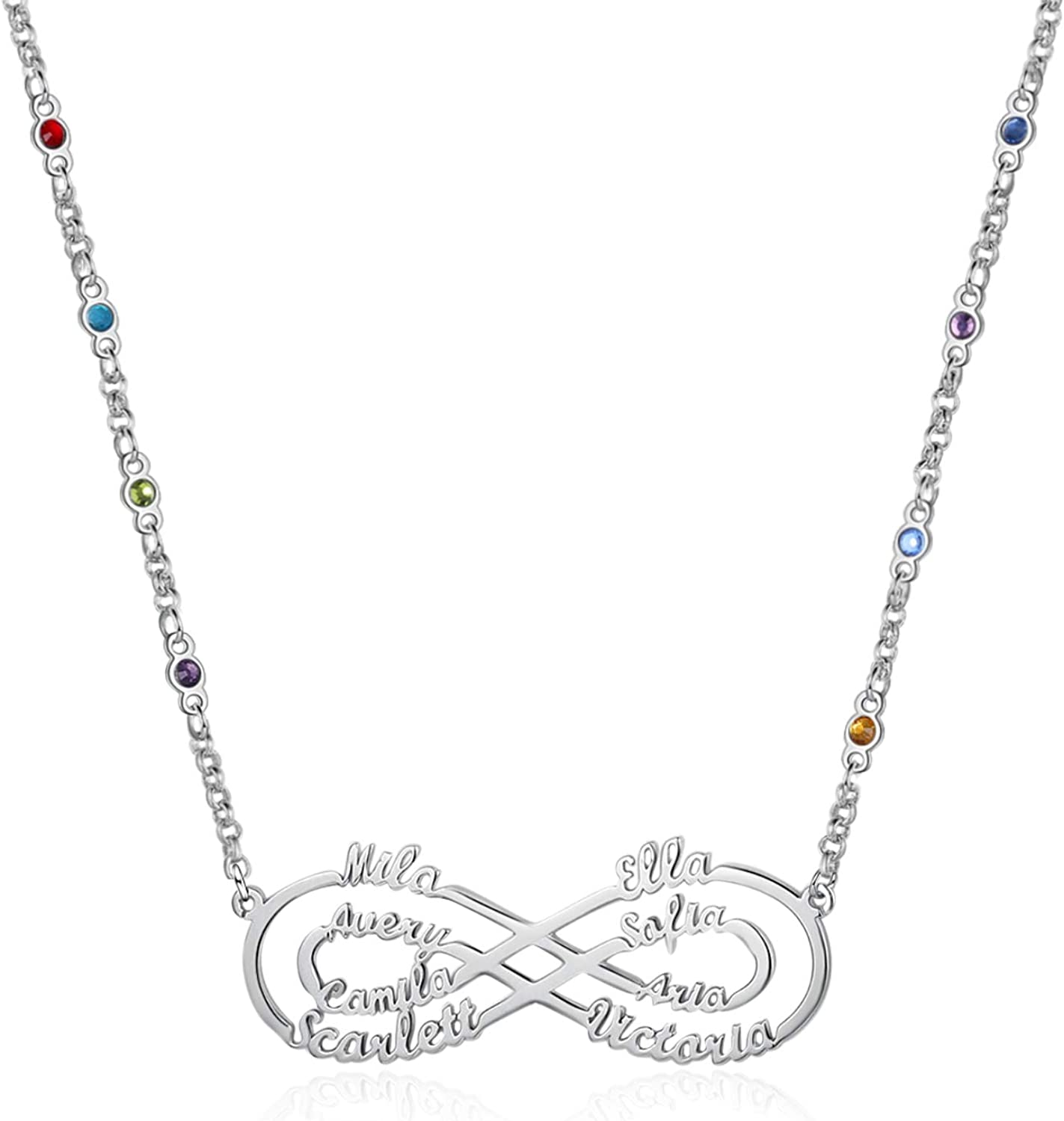 Gemszoo Personalized Infinity Necklace with latest Dallas Mall Simulated Birthstone