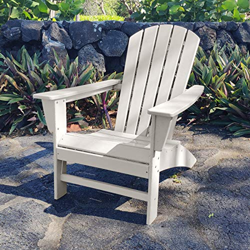 Reclining Adirondack Chair, HDPE Chair All Weather Resistant for Patio Garden Backyard Beach, White