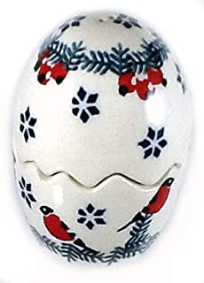 Polish Pottery Puzzle Egg Salt Pepper Shaker GILES Red Birds