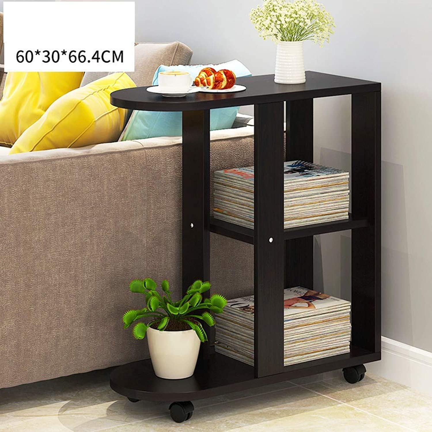 YZZY Side Table Small Coffee Table Sofa Side Cabinet Living Room Bedroom Bedside Table Removable Table Desk Modern Minimalist (color   Black)