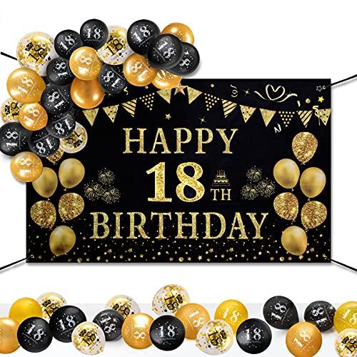 GuKKK 18 Años Decoración de Fiesta de Cumpleaños de Oro Negro, 18 Pancarta Feliz Cumpleaños, 15 Pcs Globos de Cumpleaños, Fondo Foto Cumpleaños, Póster de Tela Cartel Extra Grande para Niños Niñas