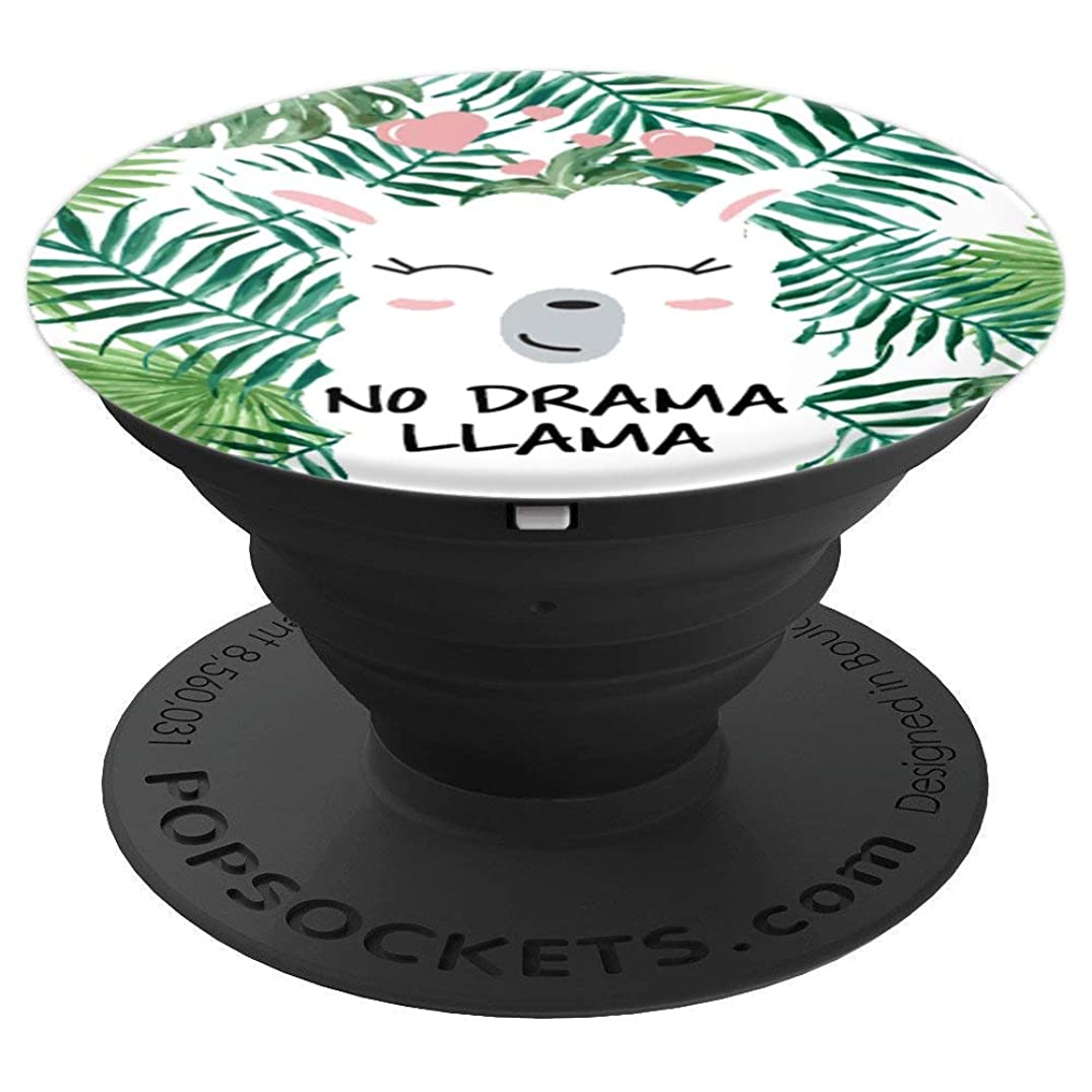 No Drama Llama, Pink Hearts, Tropical Green Leaves Cute Lama - PopSockets Grip and Stand for Phones and Tablets