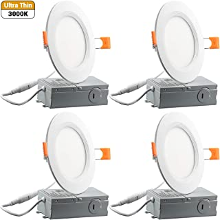 9W 4Inch Slim Recessed Ceiling Light 650LM 5000K Daylight Dimmable Airtight Downlight with Remote Driver (3000K, 4INCH-4PK)