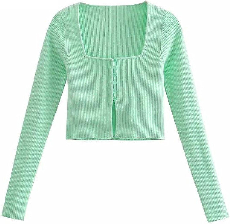 Square Max 69% OFF Collar Slim Short Green Knitting Sweater Summ Female Ranking TOP11 Chic