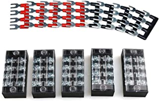 URBEST 5Pcs Terminal Block 4 Position Dual Row Screw Covered Strip 600V 25A with 400V 25A 4 Position Pre Insulated Terminal Barrier Strip Red/Black 10Pcs