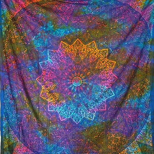 momomus Tapiz Mandala Estrella - 100% Algodón, Grande, Multiuso - Tapices de Pared Decorativos Ideales para la Decoración del Hogar, Habitación o Salón - Multicolor, 210x230 cm