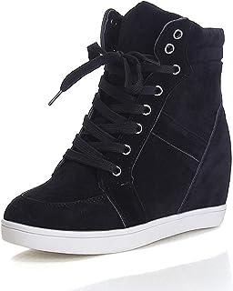 Zapatos De Mujer, Mujer Otoño Invierno Botas con Cordones De Cuña Oculta Zapatos Cálidos con Suela Antideslizante De Felpa
