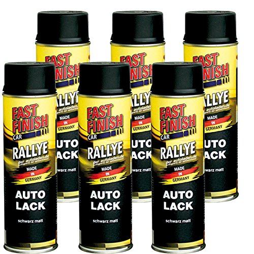 Motip Dupli - Fast Finish Autolack Rallye Spraydose 500ml schwarz matt 6 Stück