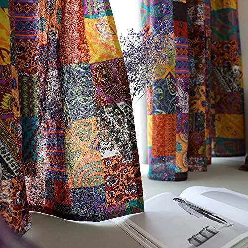 "ABREEZE Bohemian Cotton Linen Window Curtains, Semi Blackout Farmhouse Boho Style Drapes Grommet Window Curtain Panel for Living Room (55"" Wx94 L)"