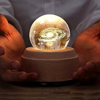 KH Projection LED Light-3D Crystal Ball Music Box Luminous Rotating Musical Box-Wood Base Best Gift for Birthday Christmas