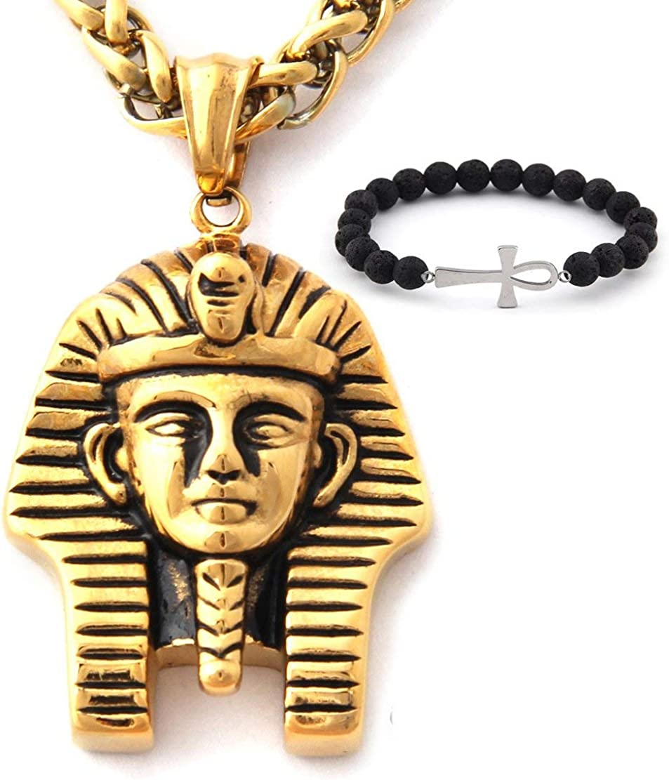 GUNGNEER Men's Stainless Steel Egyptian Pharaoh Pendant Punk Biker Vintage Goldtone Necklace Protection Strength Jewelry
