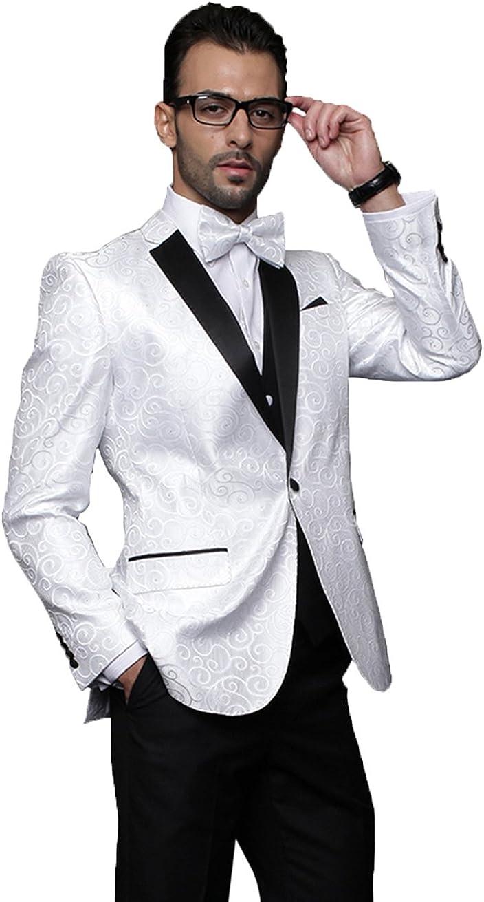 Statement 3PC Men's Suit with A Vest Slim Fit, Flat Front Pants White