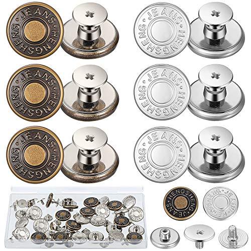 30 Sets 17 mm Ersatz Jean Knöpfe No-Sew Metall Knöpfe mit Aufbewahrungsbox Abnehmbare Hosen Knopf Reparatur Druckknöpfe Knöpfe für Cowboy Kleidung Jeans Jacken Hosen Taschen (Bronze, Silber)