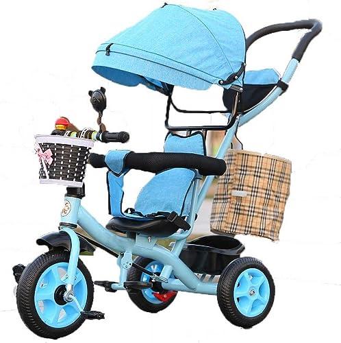 Kinder-Dreirad Fahrrad Kinderwagen Fahrrad mit Carport, multifunktionaler Baby 1-6 Kinderwagen