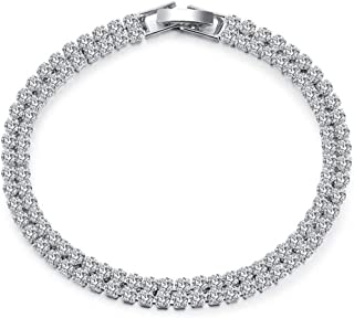 White Tennis Crystal Bracelets for Women Double Row Cubic Zirconia Plated Jewelry, 6.89inch