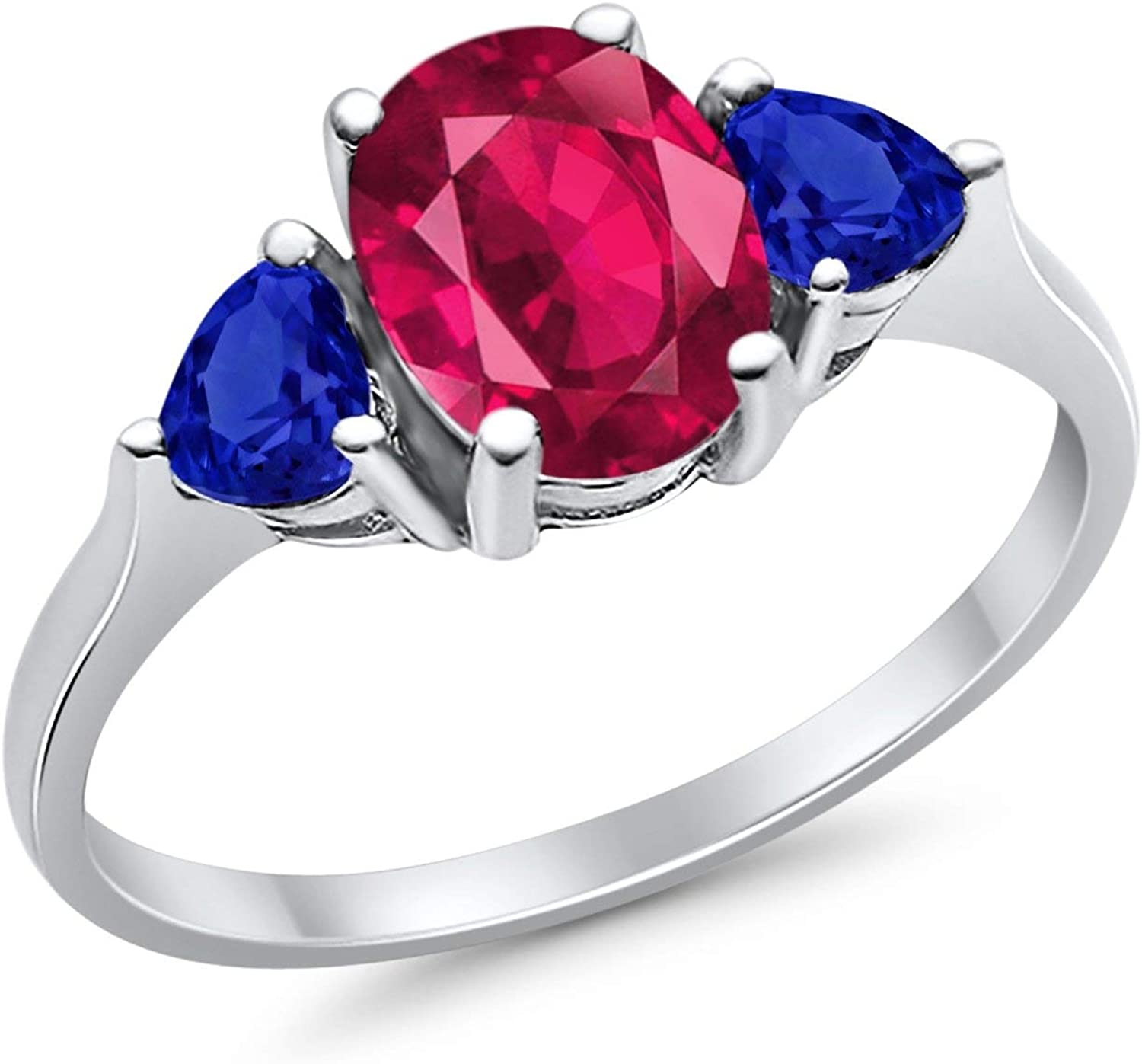 Fashion Promise Ring 3-Stone Oval Blue Heart Sapphir Simulated Limited At the price time cheap sale