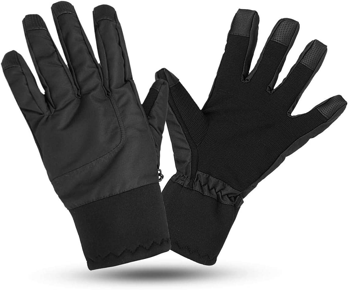 Lupovin-Keep Warm Motorcycle Touch Screen Gloves L Size Winter Warm Windproof Raincoat Anti-Slip Thermic Nylon Non-Slip (Color : Black)