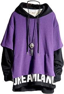 WUFAN Men Drawstring Baggy Fake Two Pieces Pullover Unisex Sweatshirt Hoodies