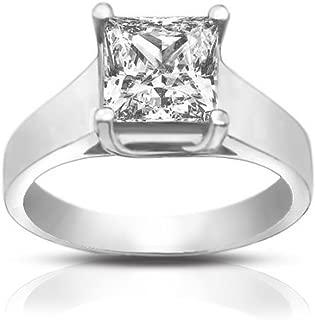 0.74 Ct Ladies Princess Cut Diamond Solitaire Engagement Ring 18 kt White Gold