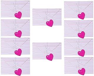 Amosfun 10 Piezas Tarjetas de Felicitación del Día de San Valentín sobre Papel de Carta Creativo en Forma de Corazón con Patrón de Rayas para Fiesta de Boda