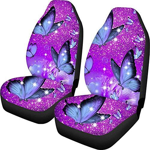 Enoqunt Funky Purple Butterfly Design autostoelhoezen voor vrouwen meisjes auto interieur voorstoelbeschermer kussensloop